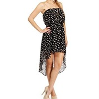 SALE-Black/Ivory Sleeveless Polka Dot Dress