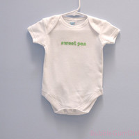 sweet pea Baby Onesuit, Embroidered Word Onesuit sweetpea