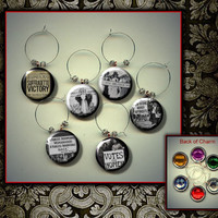 SUFFRAGE Suffragette Womens Rights Feminism Set of 6 Altered Art Button WINE Glass Charms w/ Rhinestone