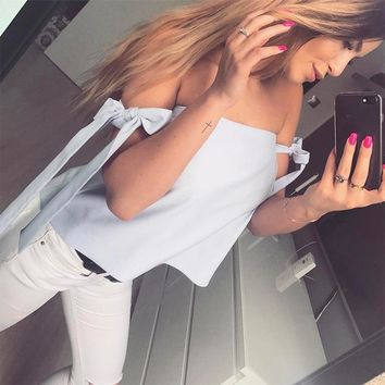 Fashion Off Shoulder Bow Strappy Short Sleeve Solid Color Tops