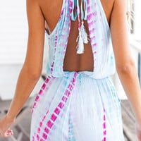 Light Blue Printed Drawstring Romper