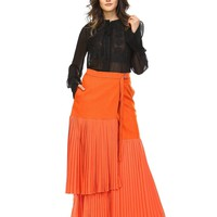 Pleats To Meet You Maxi Skirt in Sunset Orange
