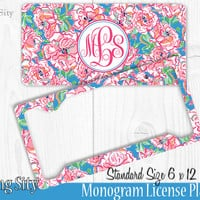 Coral Pink Blue Floral Monogram License Plate Frame Holder Metal Wall Sign Tags Personalized Custom Vanity Plate