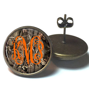 Camouflage Monogram Earrings Safety Orange  (400a)