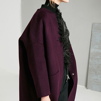 Wool Cashmere Purple Coat