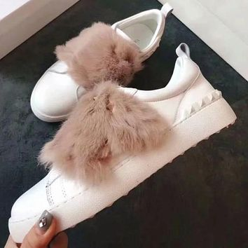 Valentino Women Fashion Fur Sneakers Sport Shoes