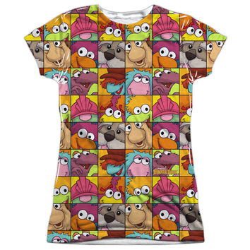 Fraggle Rock Character Squares Ladies Vibrant Color Sublimation T-Shirt