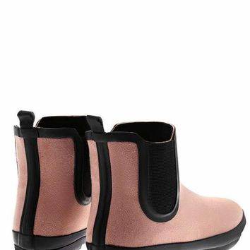 Elastic Sides Pink Ankle Welly Boots