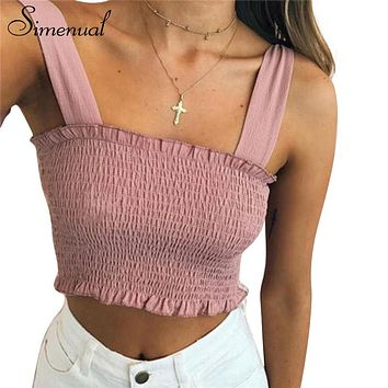 Simenual 2018 Summer strappy tube crop top elastic slim fitness sexy hot women camis tops cropped bowknot sleeveless shirt vests