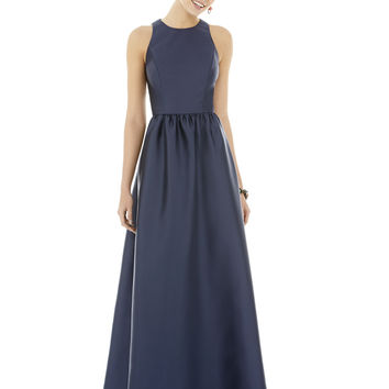 Alfred Sung by Dessy D707 Full Length Sleeveless Sateen Twill Bridesmaid Dress