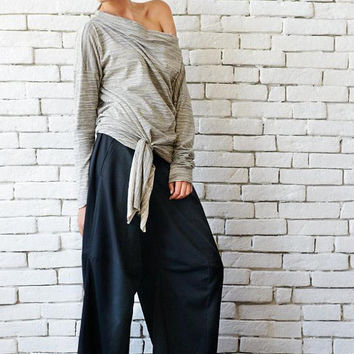 Light Grey Top/Fallen Sleeve Tunic/Extravagant Long Blouse/Long Sleeve Loose Tunic/Everyday Casual Top/Modern Maxi Tunic/Plus Size Grey Top