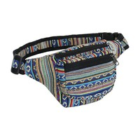 Boho Festival Tribal Fabric Waist Bag, 3 Zipper Fanny Pack, Handmade in Nepal