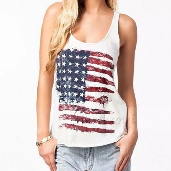 New summer sexy Women American flag vest flag pattern T-shirt -0626