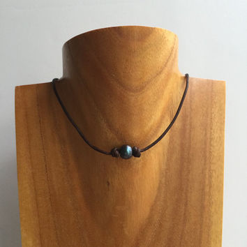 Pearl Choker Necklace, Brown Choker Leather, Leather Pearl Choker, Peacock Freshwater Pearl Choker Necklace