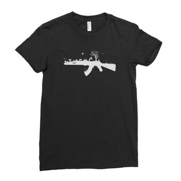 banksy style ak47 art   funny Ladies Fitted T-Shirt