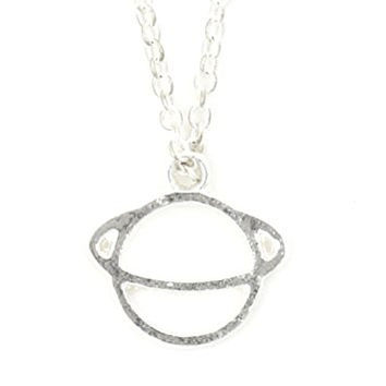 Planet Saturn Necklace Outer Space Silver Tone Pendant NU55 Fashion Jewelry