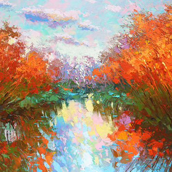 SALE The colors of autumn pond- Original oil painting on canvas by Dmitry Spiros. Size: 24 x 32 in (60 x 80 cm)