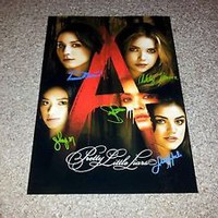 "PRETTY LITTLE LIARS CAST PP SIGNED POSTER 12""X8"" A4 SASHA PIETERSE LUCY HALE S3"