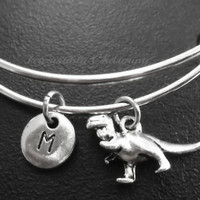 Sale.....T-rex dinosaur charm bracelet, Stainless Steel Expandable Bangle, monogram personalized item No.708