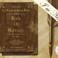 Harry Potter Invitation, Harry Potter Wedding or Birthday, Hogwarts Invitation, Steampunk Birthday Invitation, Book of Spells (DIGITAL)