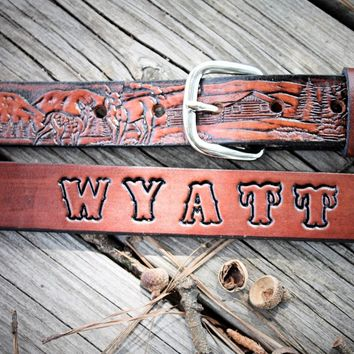 Kid's Leather Belt , Deer Scene, Name Engraved Free!