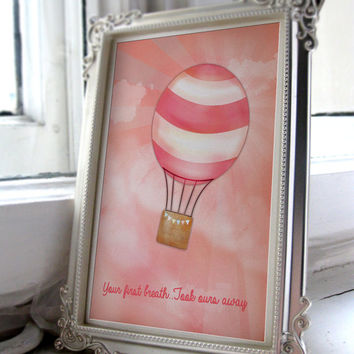 Your first breath, took ours away' Girls nursery art printable A4 JPEG Download