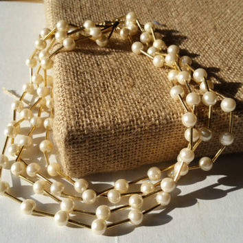 Pearl and gold, multi strand, costume jewelry necklace, Avon