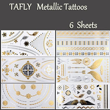 TAFLY Metallic Tattoos - Shimmer Designs in Gold, Silver, Black - Temporary Fake Jewelry Tattoos - Bracelets, Feathers, Wrist & Arm Bands 6 Sheets