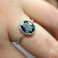 London Blue Topaz Milgrain Ring In No Nickel / Nickel Free Sterling Silver - Made To Order