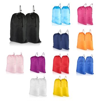 DALIX Large Travel Laundry Bag for Camp College Drawstring Bags 2 Pack