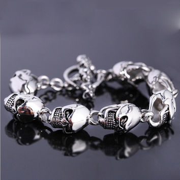 Men's 316L Stainless Steel Skull Head Bracelet 230mm