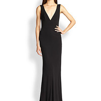 Jersey Deep V-Neck Gown