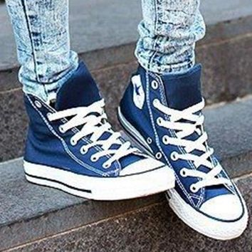 """""""Converse"""" Fashion Canvas Flats Sneakers Sport Shoes High tops Dark blue"""