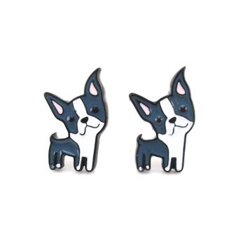 Boston Terrier Shaped Enamel Stud Earrings for Dog Lovers