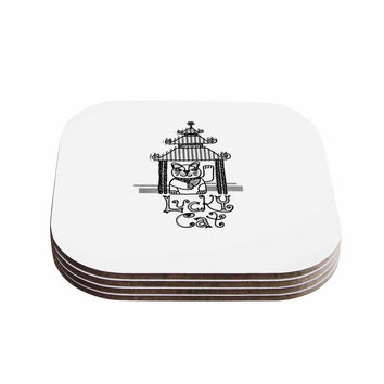 "Jane Smith ""Lucky Cat"" Black White Coasters (Set of 4)"