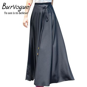 Burvogue Women  Fashion Vintage Summer Beach faldas pleated skirt High Waist  Chiffon Maxi Long Skirts