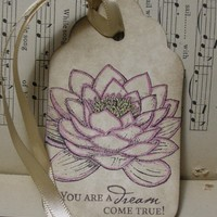 DREAM COME TRUE Waterlily Gift Tag - vintage style, shabby chic style, lotus, water garden, zen, flower, shimmer, sparkle - Set of 6