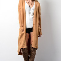 Long Cardigan with Pockets - Mustard