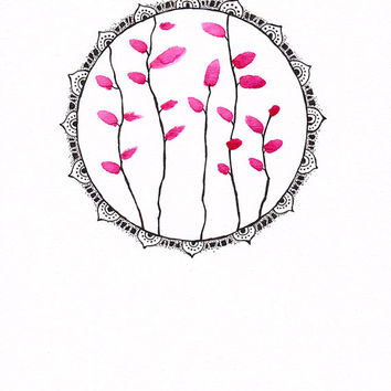 Decorative illustration of pink plants with zentangle mandala border. Circular picture of leaves. Original wall art.