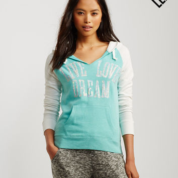 LLD Sequin Text Colorblocked Pullover Hoodie