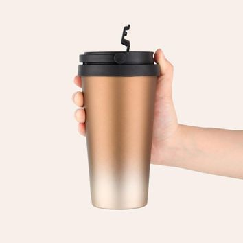 500ml Double Wall Stainless Steel Vacuum Flask Car Thermos Mugs With Handle Coffee Tea Travel Thermal Bottle Tumbler Thermocup