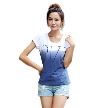 New 100% cotton t-shirt women short sleeve shirts o-neck Causal loose print t shirt tops for women Top Tees Plus size 3XL 4XL