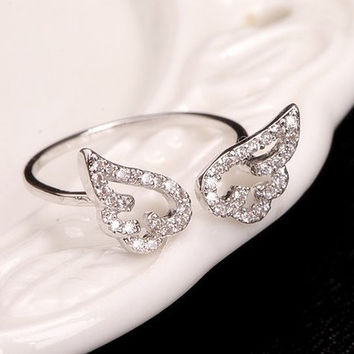 Fashion angel wings opening ring - unique ring - trend ring - personalized ring - smart ring - adjustable ring