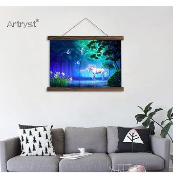 Blue Shine Moonlight Canvas Painting For Home Decor