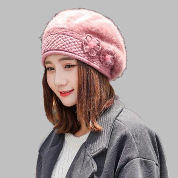 NEW winter Women beret hat 100% Rabbit knitted cap angora beret Simple and stylish mink flower decoration cap Double warm hat
