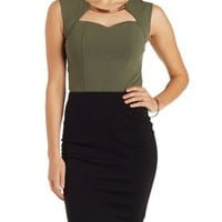 Olive Gold-Embellished Sweetheart Crop Top by Charlotte Russe