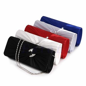 THINKTHENDO Women's Bridal Shoulder Clutch Bag Bling Rhinestone Chain Evening Handbag Purse