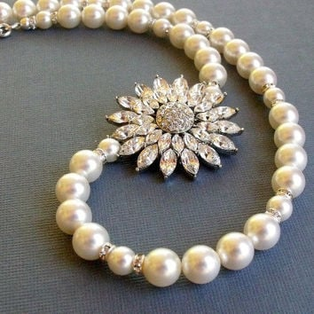 Pearl Rhinestone Flower Bridal Wedding by pinkingedgedesigns