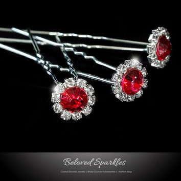Lydia-1 RubyRed Halo Hair Stick Pin | Rhinestone