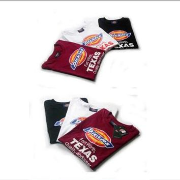 Dickies Fashion Casual Unisex Letter Print Embroidery Small Logo Round Neck Short Sleeve Couple Cotton T-shirt